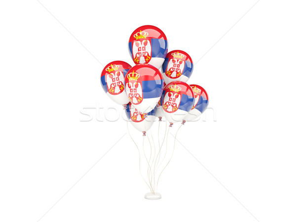 Voador balões bandeira Sérvia isolado branco Foto stock © MikhailMishchenko
