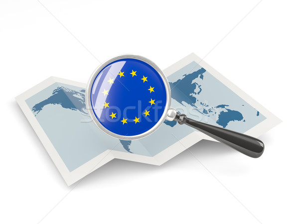 Magnified flag of european union with map Stock photo © MikhailMishchenko