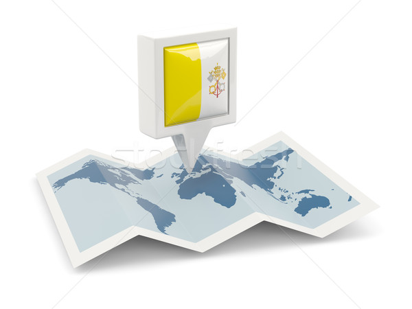 квадратный Pin флаг Ватикан карта путешествия Сток-фото © MikhailMishchenko