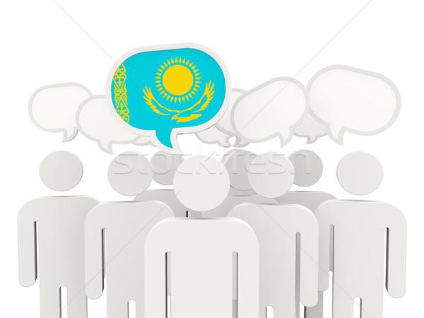Pessoas bandeira Cazaquistão isolado branco reunião Foto stock © MikhailMishchenko