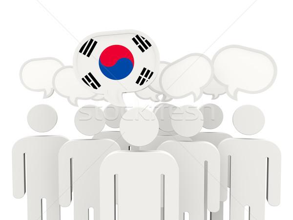 Personas bandera Corea del Sur aislado blanco reunión Foto stock © MikhailMishchenko