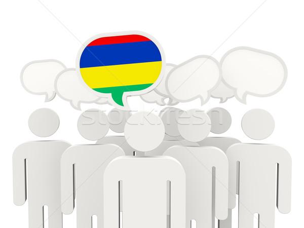Ludzi banderą Mauritius odizolowany biały spotkanie Zdjęcia stock © MikhailMishchenko
