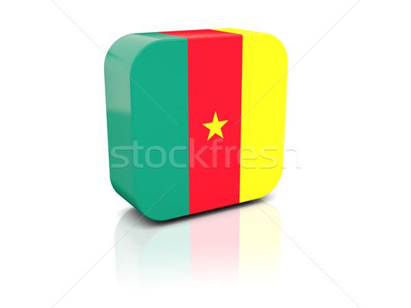 Vierkante icon vlag Kameroen reflectie witte Stockfoto © MikhailMishchenko
