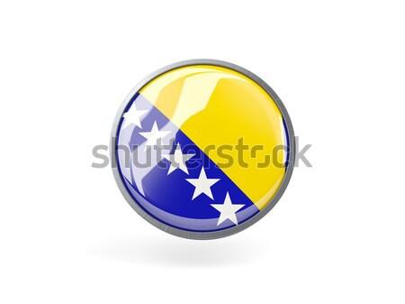 ícone bandeira Bósnia-Herzegovina isolado branco viajar Foto stock © MikhailMishchenko