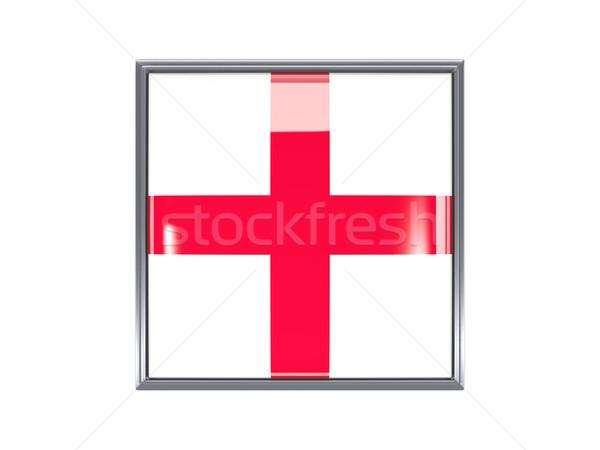 Tér ikon zászló Anglia fém keret Stock fotó © MikhailMishchenko