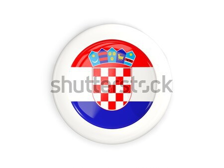 Botão bandeira Croácia metal quadro viajar Foto stock © MikhailMishchenko