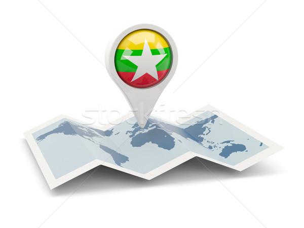 Pin флаг Мьянма карта путешествия белый Сток-фото © MikhailMishchenko