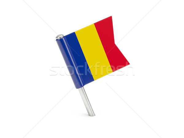 Bandera pin Rumania aislado blanco viaje Foto stock © MikhailMishchenko