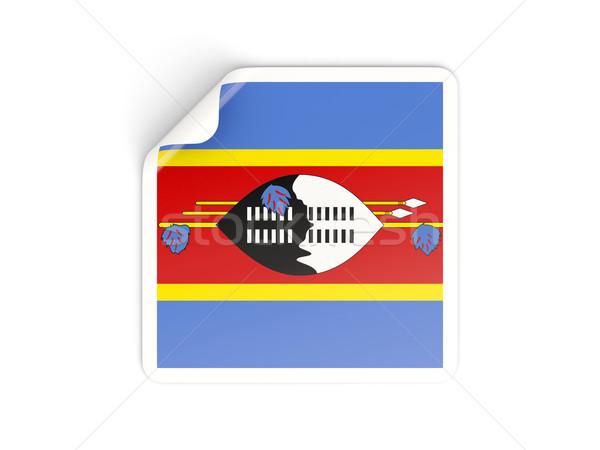 Placu naklejki banderą Suazi odizolowany biały Zdjęcia stock © MikhailMishchenko