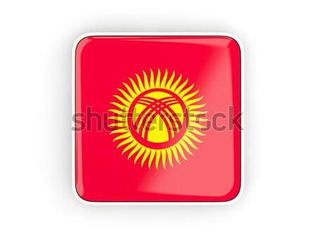Bayrak etiket Kırgızistan yalıtılmış beyaz imzalamak Stok fotoğraf © MikhailMishchenko