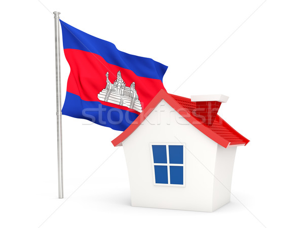 Casa bandeira Camboja isolado branco casa Foto stock © MikhailMishchenko
