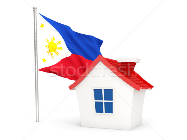 Huis vlag Filippijnen geïsoleerd witte home Stockfoto © MikhailMishchenko