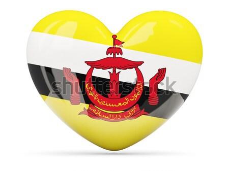Icon vlag Brunei glanzend teken witte Stockfoto © MikhailMishchenko