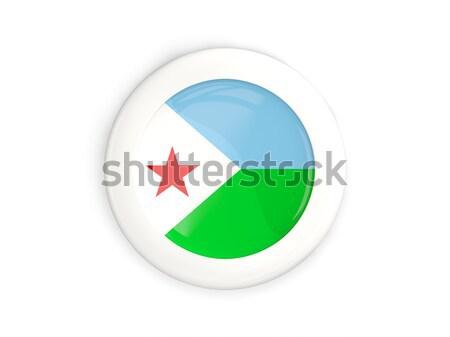 Ikona banderą Dżibuti podpisania biały Zdjęcia stock © MikhailMishchenko