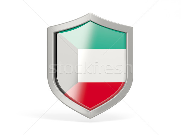 Escudo ícone bandeira Kuweit isolado branco Foto stock © MikhailMishchenko