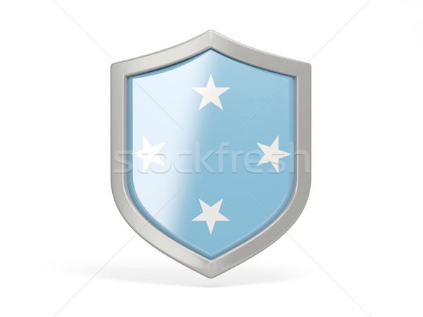 Escudo ícone bandeira Micronésia isolado branco Foto stock © MikhailMishchenko