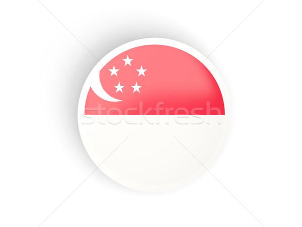 Adesivo bandeira Cingapura isolado branco viajar Foto stock © MikhailMishchenko