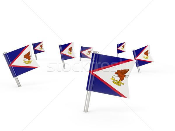 Praça bandeira Samoa Americana isolado branco país Foto stock © MikhailMishchenko