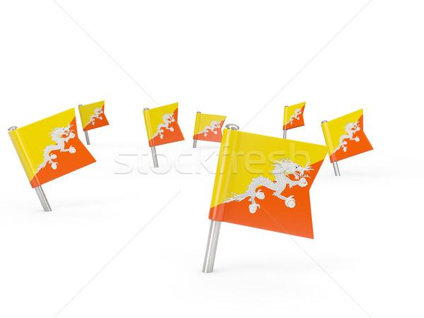 Praça bandeira Butão isolado branco país Foto stock © MikhailMishchenko