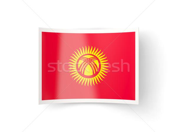 Ikon bayrak Kırgızistan yalıtılmış beyaz ülke Stok fotoğraf © MikhailMishchenko