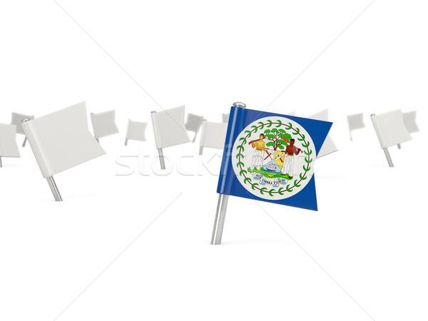 Tér tő zászló Belize izolált fehér Stock fotó © MikhailMishchenko