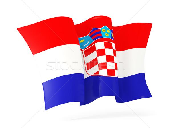 Integet zászló Horvátország 3d illusztráció izolált fehér Stock fotó © MikhailMishchenko