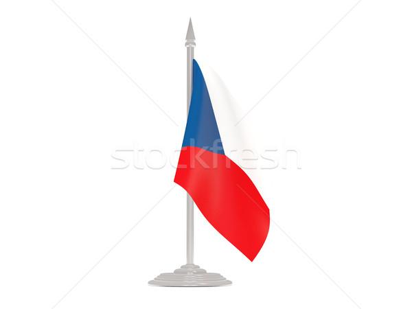 Vlag Tsjechische Republiek vlaggestok 3d render geïsoleerd witte Stockfoto © MikhailMishchenko