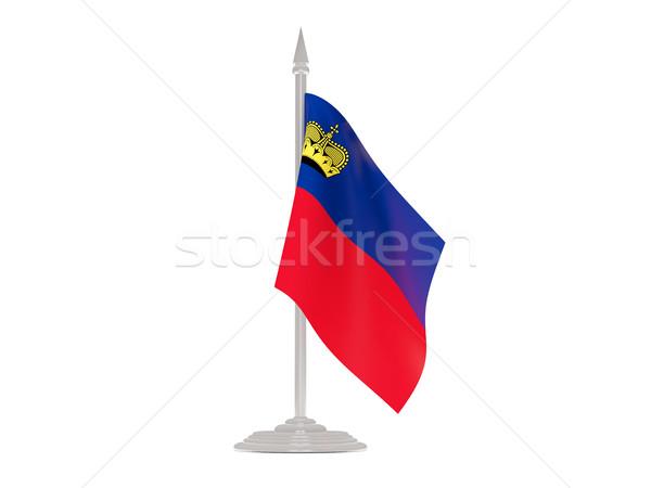 Banderą Liechtenstein maszt 3d odizolowany biały Zdjęcia stock © MikhailMishchenko