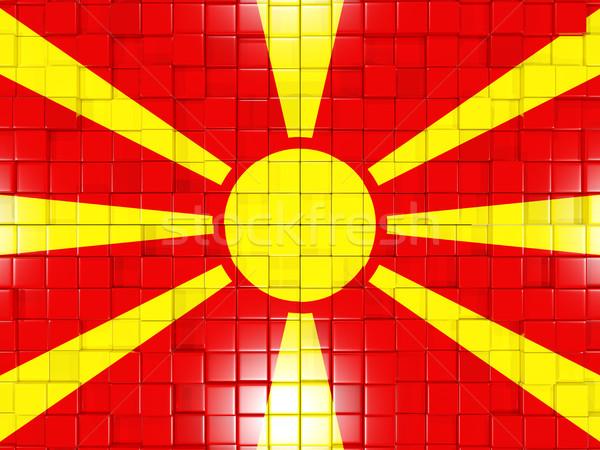 квадратный флаг Македонии 3d иллюстрации мозаика Сток-фото © MikhailMishchenko