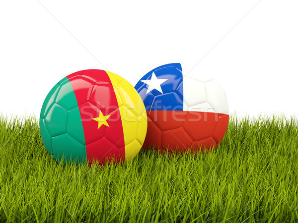 Two footballs with flags of Cameroon and Chile on green grass Stock photo © MikhailMishchenko