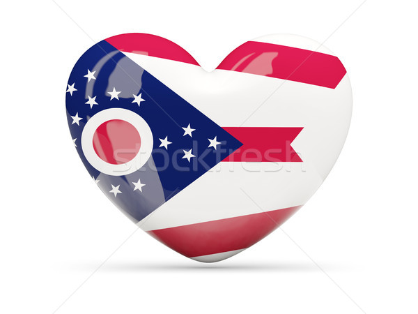 Zászló szív ikon izolált fehér 3d illusztráció Stock fotó © MikhailMishchenko