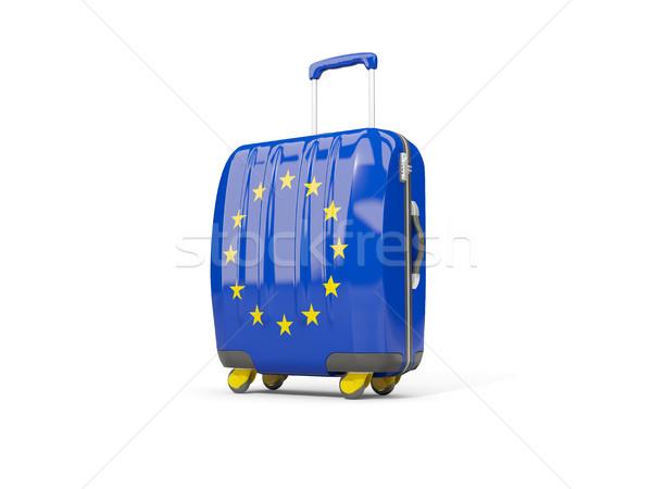 Luggage with flag of european union. Suitcase isolated on white Stock photo © MikhailMishchenko