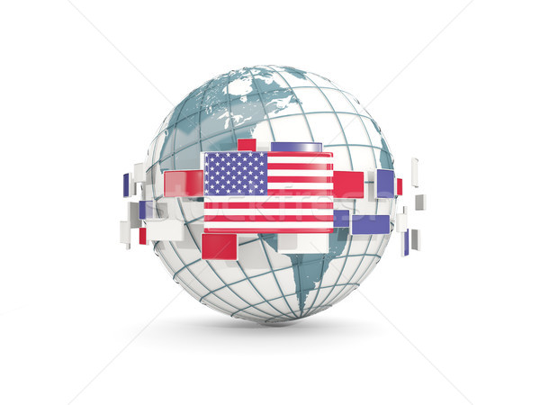 Globe with flag of united states of america isolated on white Stock photo © MikhailMishchenko