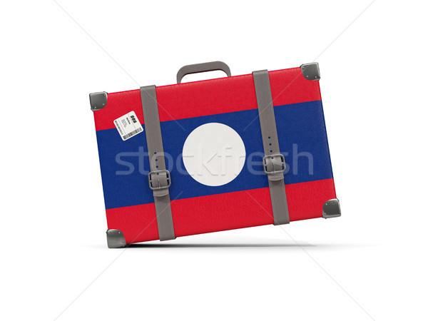 Bagage vlag Laos koffer geïsoleerd witte Stockfoto © MikhailMishchenko