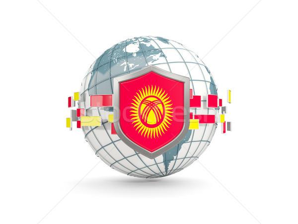 Dünya kalkan bayrak Kırgızistan yalıtılmış beyaz Stok fotoğraf © MikhailMishchenko