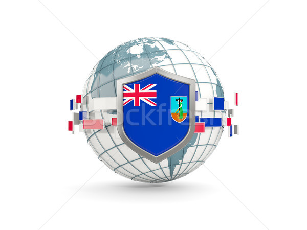 Globe and shield with flag of montserrat isolated on white Stock photo © MikhailMishchenko