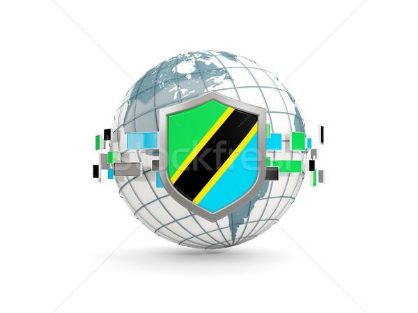 мира щит флаг Танзания изолированный белый Сток-фото © MikhailMishchenko