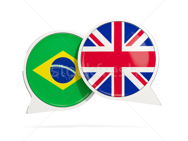 Chat bubbles of Brazil and UK isolated on white Stock photo © MikhailMishchenko