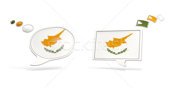 Two chat icons with flag of cyprus Stock photo © MikhailMishchenko