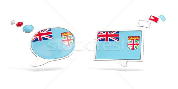 Kettő chat ikonok zászló Fidzsi-szigetek tér Stock fotó © MikhailMishchenko