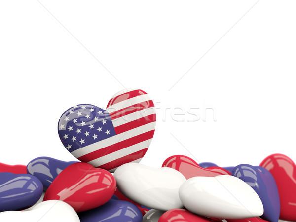 Szív zászló Egyesült Államok Amerika felső szívek Stock fotó © MikhailMishchenko