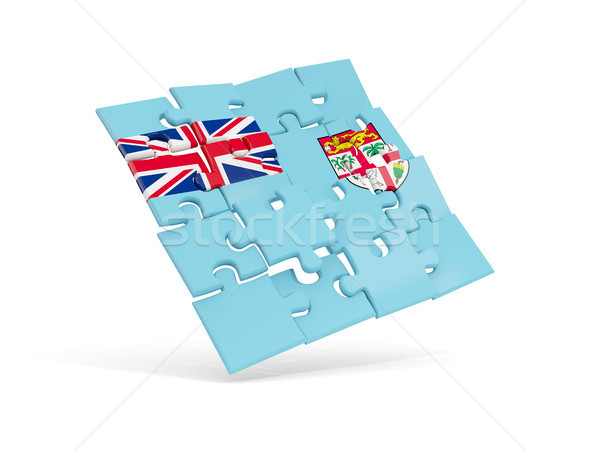 Quebra-cabeça bandeira Fiji isolado branco ilustração 3d Foto stock © MikhailMishchenko