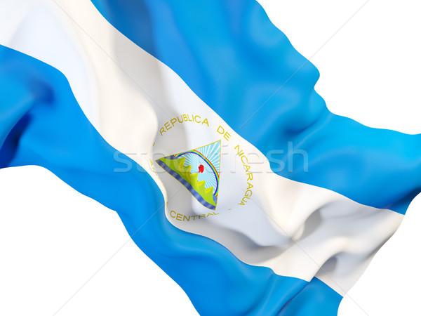 Integet zászló Nicaragua közelkép 3d illusztráció utazás Stock fotó © MikhailMishchenko