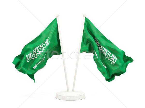 Iki bayraklar Suudi Arabistan yalıtılmış beyaz Stok fotoğraf © MikhailMishchenko