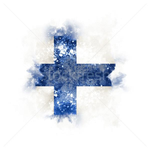 Vierkante grunge vlag Finland 3d illustration retro Stockfoto © MikhailMishchenko