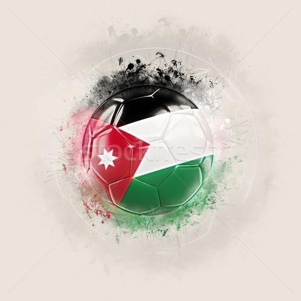 Grunge voetbal vlag Jordanië 3d illustration wereld Stockfoto © MikhailMishchenko