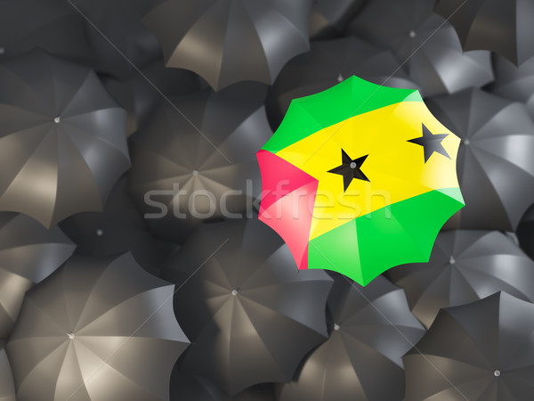 Umbrella with flag of sao tome and principe Stock photo © MikhailMishchenko