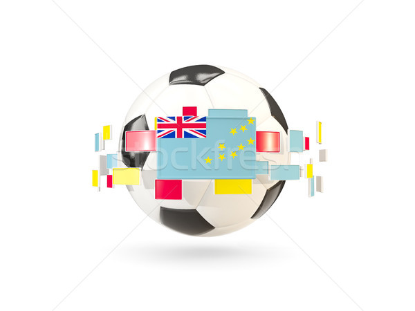 Soccer ball with line of flags. Flag of tuvalu Stock photo © MikhailMishchenko