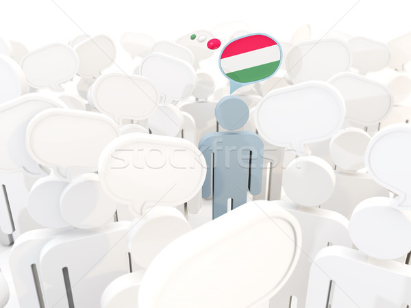 Hombre bandera Hungría multitud 3d signo Foto stock © MikhailMishchenko