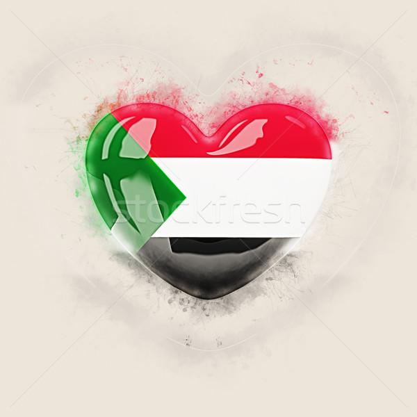 Szív zászló Szudán grunge 3d illusztráció utazás Stock fotó © MikhailMishchenko